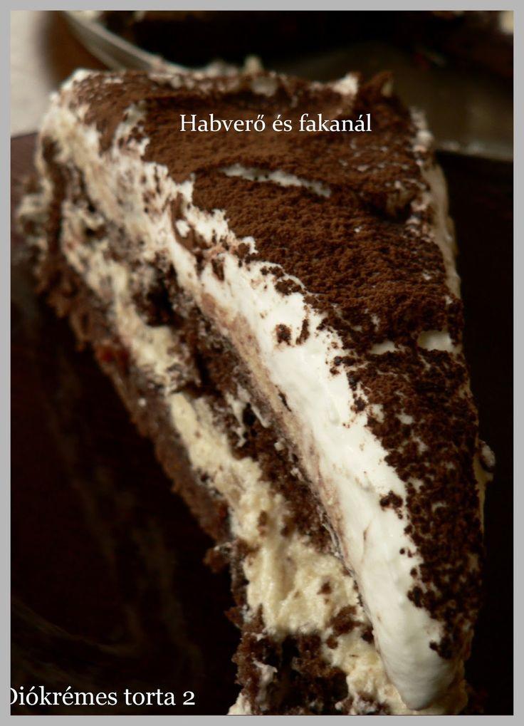 Diókrémes torta 2  Hozzávalók:   6 tojás  6 ek cukor  2 ek kakaópor  4 ek liszt    Krém:    18 dkg vaj  12 dkg cukor  15 dkg darált ...