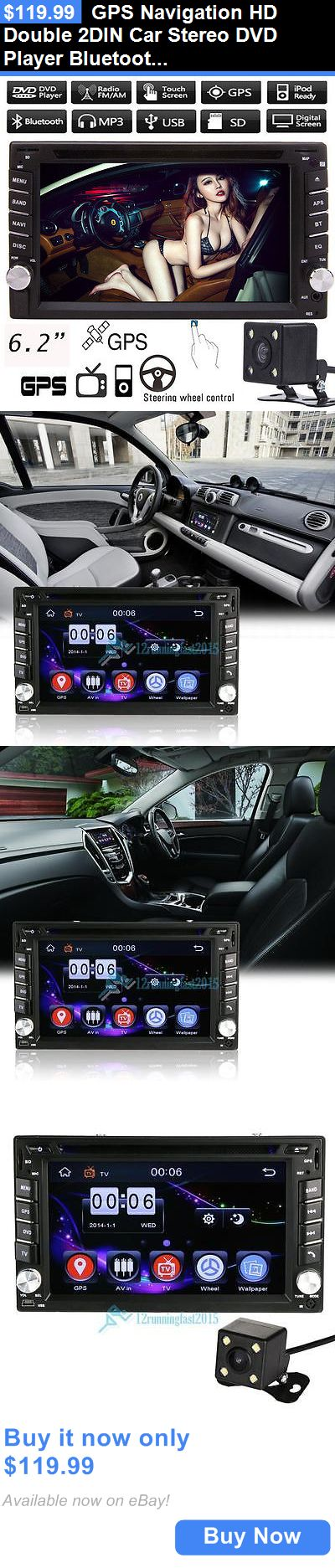 Vehicle Electronics And GPS: Gps Navigation Hd Double 2Din Car Stereo Dvd Player Bluetooth Ipod Mp3 Tv+Camera BUY IT NOW ONLY: $119.99