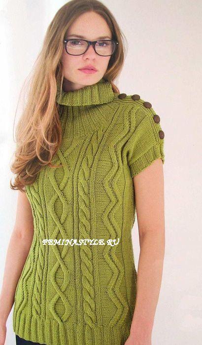Зеленый пуловер спицами