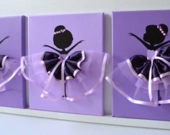 Lavender Ballerina Wall art. Nursery wall decor. Set por FlorasShop