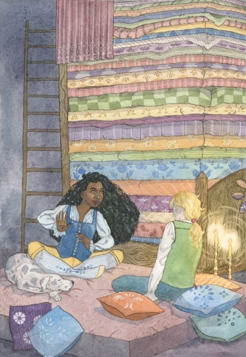 """The Princess and the Pea - Feminist Fairytales illustration. An illustrated book of five traditional fairytales, retold with a feminist twist. """"And what a bed it was! Twenty mattresses were piled one on top of the other, and on top of those lay twenty eiderdown quilts..."""""""