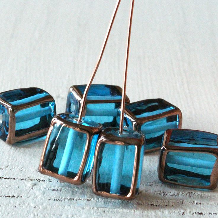 Handmade Glass Beads - Czech Lampwork Beads - Czech Glass Beads For Jewelry Making Supply - 10x14mm Rectangle - Aquamarine - Choose Amount by funkyprettybeads on Etsy https://www.etsy.com/listing/596069519/handmade-glass-beads-czech-lampwork
