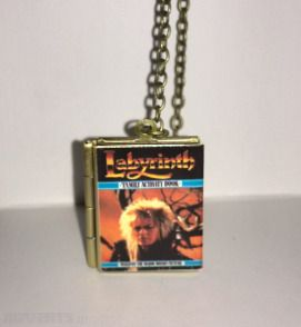 Labyrinth, David Bowie, vintage Book,Locket,Book Pendant with an antique brass chain, Free Shipping