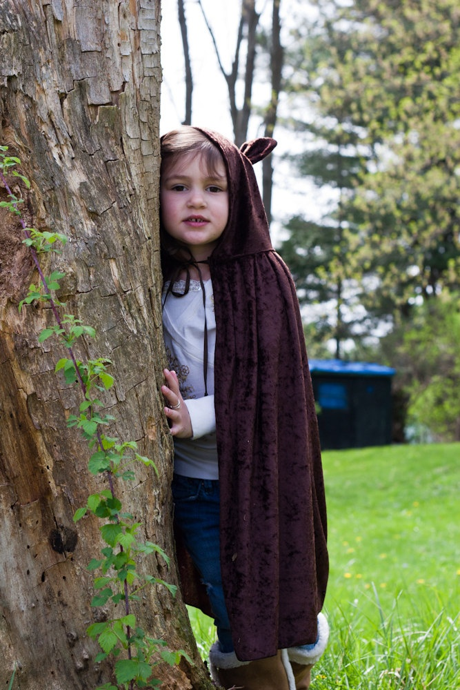 Handmade Cape Big Bad Wolf  Werewolf Costume Child Boy Girl....capes. Maybe without ears.