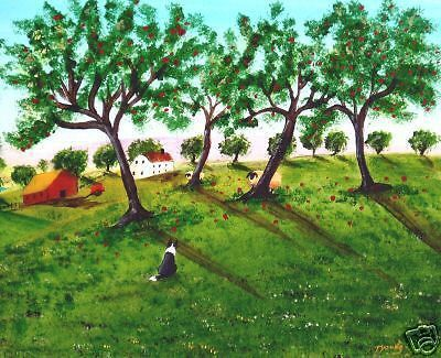 Details About Set Of Border Collie Dog Folk Art Prints Of Todd Young Apple  Harvest Orchard.