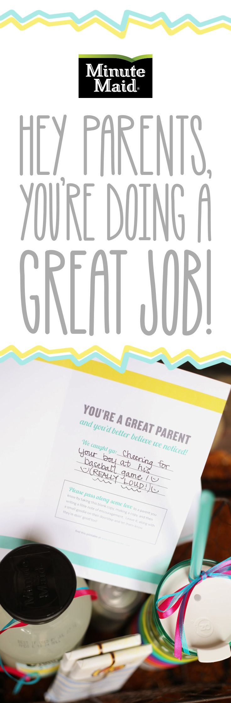 Hey Parents, You're Doing A Great Job!   For all the parents working hard out there, you need to know that you're #doingood. If you need positive inspiration to keep on being a super mom or dad, head to the Minute Maid Blog for tips, advice, thanks, and encouragement for every parent. Click to see the lastest from guest blogger How Does She, with great ideas for telling parents they're #doingood!