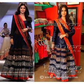 Shilpa Shetty Style Blue Floor Length Anarkali Lehenga