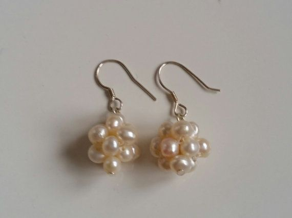 natural freshwater earrings white seed pearl delicate by SandyYuDesign