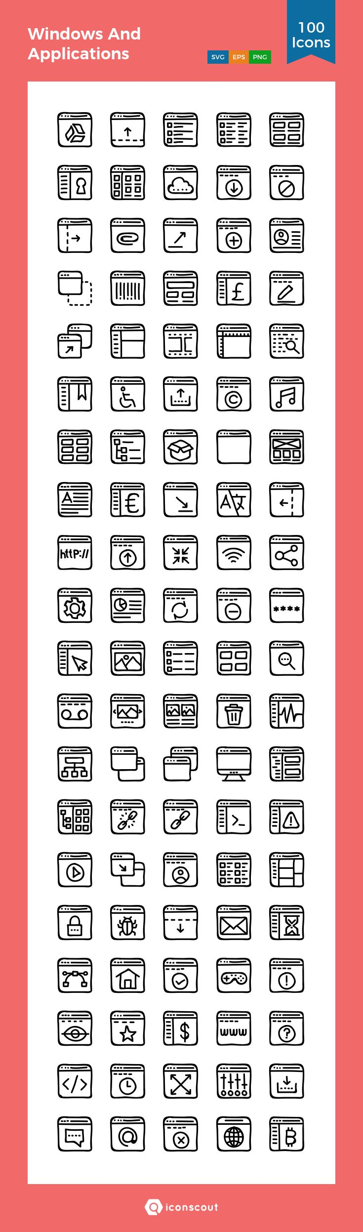 Windows And Applications  Icon Pack - 100 Handdrawn Icons