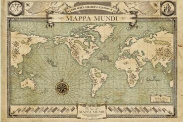 """Phantastische Tierwesen und wo sie zu finden sind - Mappa Mundi  - Poster - Querformat - 61 x 91,5 cm - 150gsm  Fans des 2016er Kinofilms """"Phantastische Tierwesen und wo sie zu finden sind"""" kennen sie natürlich ganz genau: die Mappa Mundi. Wenn sie Dich fasziniert, hängst Du sie Dir als 150 g/m²-Poster an die Wand oder Tür. Dieses Poster kommt im Querformat und in der Größe 61 x 91,5 Zentimeter zu Dir. Im Stile einer mittelalterlichen Weltkarte gehalten!"""