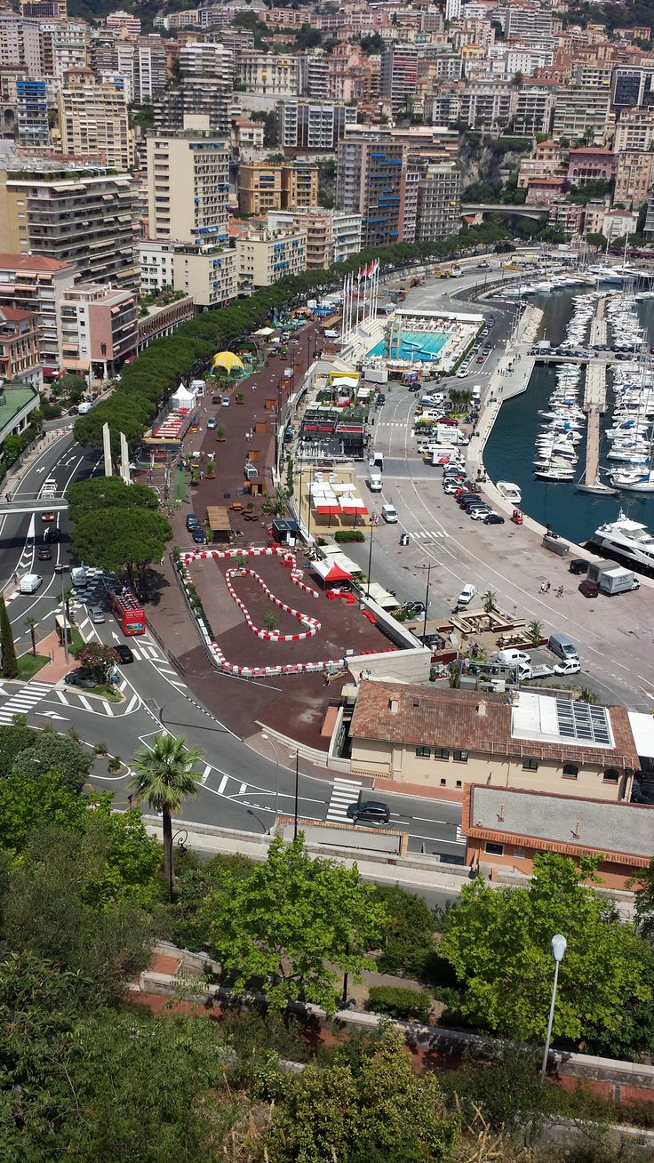 Monte Carlo, France - Mediterranean Cruise - Formula 1 race track - hairpin turn as seen from the Fairmont Monte Carlo hotel