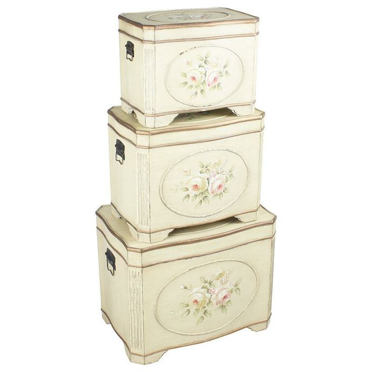 Set of three wooden trunks with roses! www.inart.com