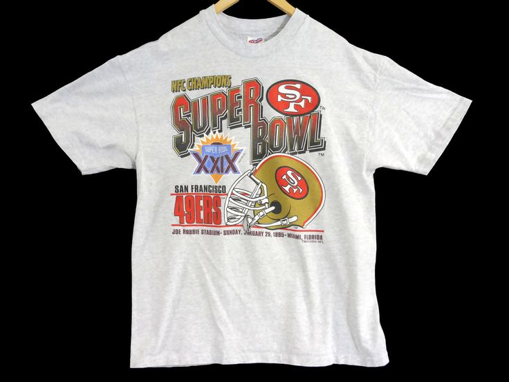 VTG 1994 SF 49ers T-Shirt - Large - Superbowl Champions 1995 - Football - NFL - Hanes Heavyweight - Vintage Tee - Vintage Clothing - by BLACKMAGIKA on Etsy
