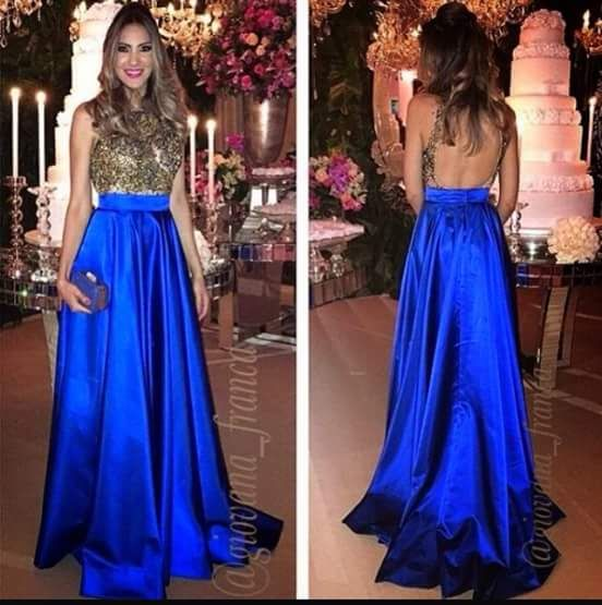 Blue and gold dress.                                                       …