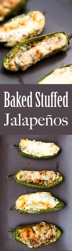 Baked Stuffed Jalapeños! Stuffed with cheese, onions, cilantro and bacon, seasoned with oregano and cumin. Great appetizer for a crowd! On SimplyRecipes.com