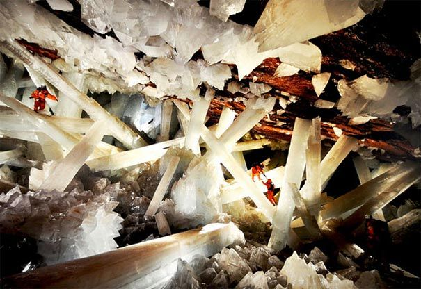 The Naica Mine of the Mexican state of Chihuahua is a working mine that is best known for its extraordinary selenite crystals. The Cave of Crystals (Cueva de los Cristales) is a cave approximately 1,000 feet (300 m) below the surface in the limestone host rock of the mine. The chamber contains giant selenite crystals, some of the largest natural crystals ever found.T he selenite crystals were formed by hydrothermal fluids emanating from the magma chambers below