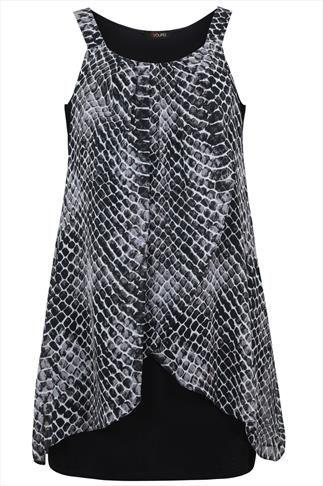 Black And Grey Reptile Print Chiffon Overlay Tunic Dress