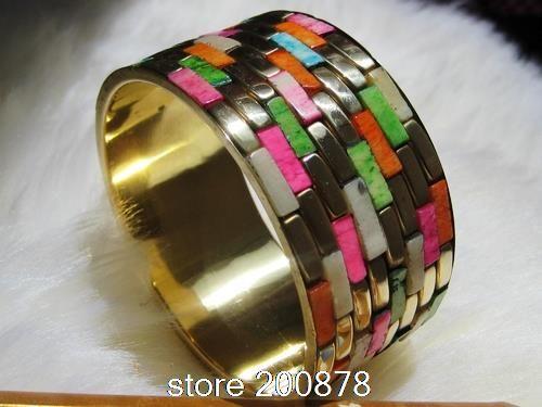 BB-057  Indian Colorful Rainbow Yak Bone Wide BOHO Bangles,2014 Ethnic Fashion Jewelry