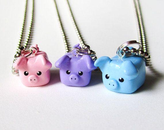 Pastel Colors Three Little Pigs Best Friend Necklace Set of 3. Soo cute