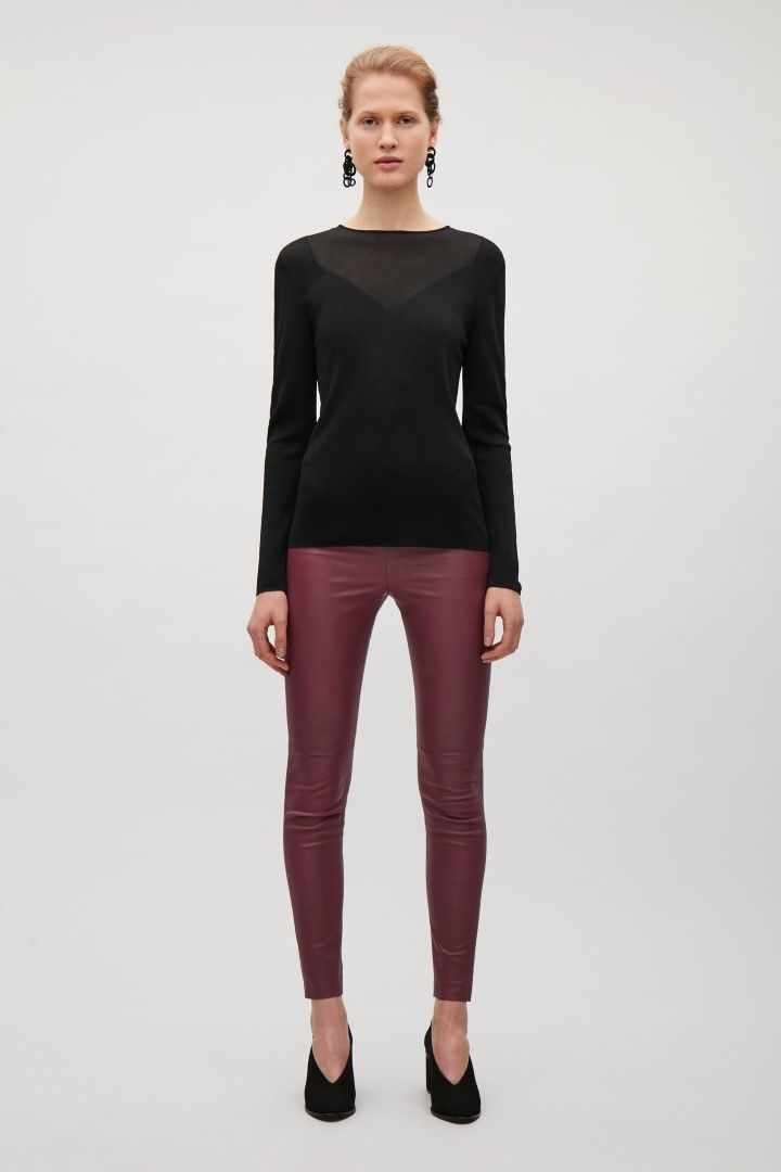 COS image 1 of Slim-fit leather trousers in Burgundy