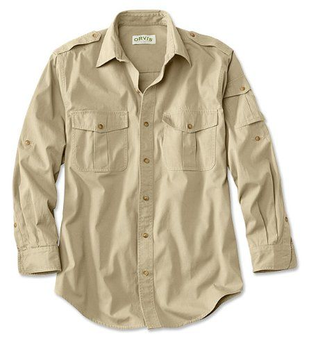 """Orvis Men's Bush Shirt / Tall, Light Khaki, X Large. Built from tightly woven pure cotton, our midweight Bush Poplin breathes well and wicks dust and moisture to keep you dry and cool on your adventures. Pure cotton. Sizes: S(34-36, M(38-40, L(42-44, Xl(46-48, Xxl(50-52. Made to take on outdoor use, poplin has been standard issue in expedition and safari clothing for nearly a century and was used widely in the field during WWII. Imported. Tall sizes 2"""" longer in the body and sleeve."""
