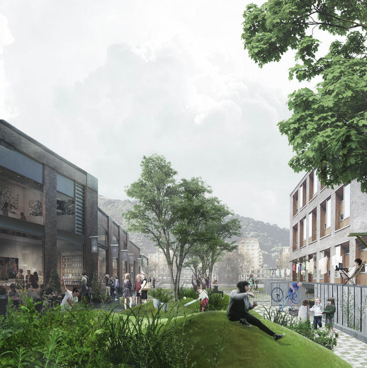Landscape Architecture ideas for Hanson Street envision a shared public/private backyard mound garden