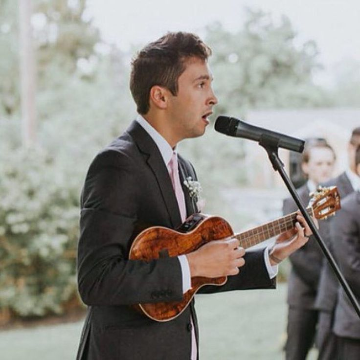 Tyler singing at his sister's wedding