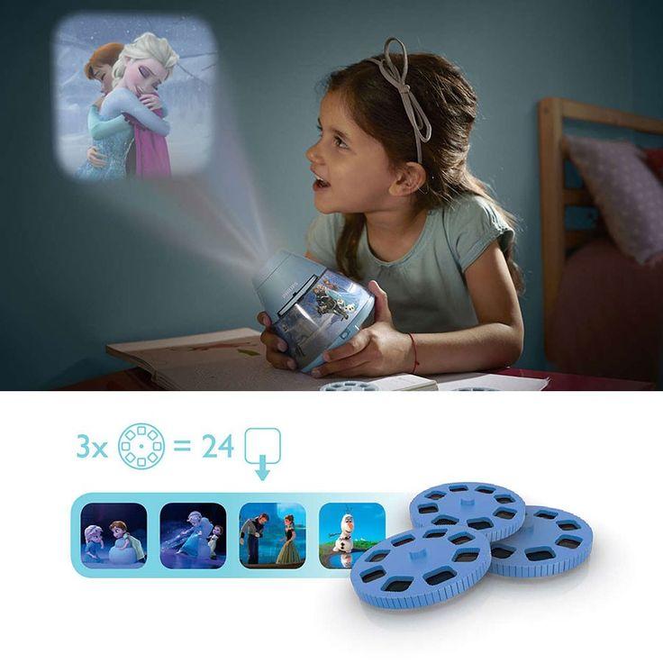 Philips Disney 2-i-1 LED Projektor og Nattlys Frost - Philips og Disney er en bra match, det viser de godt i denne smarte kombinasjonen av en nattlampe og projektor. Lampen fungerer som en leke om dagen hvor barnet kan titte på bilder av Anna, Elsa, Kristoff, Sven og Olaf fra den utrolig populære filmen Frost. Ved enkelt å trykke på en knapp kan barnet endre lampen til et nattlys som gjør det lettere å sovne og er beroligende hvis hen våkner om natten.