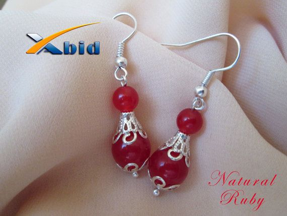 Silver earrings. Red dangle earrings with natural ruby by xabid, $12.00