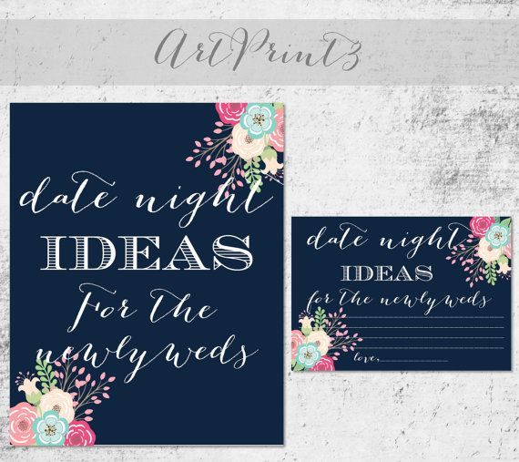 Date Night Ideas Printable, Navy Printable Bridal Shower Date Night Idea Cards Sign, Floral Bridal Shower Activity,Date Night Idea Printable