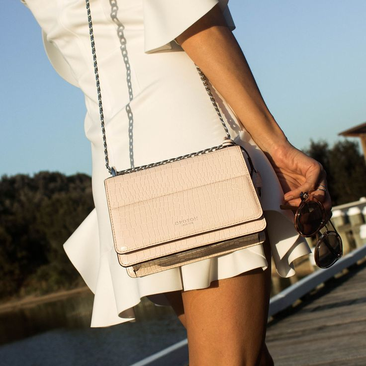 Pink Oroton Bag, pink cross body bag, mini bag, white summer dress, white frill dress, summer style, summer outfit, accessories, summer tan @thelustlife_