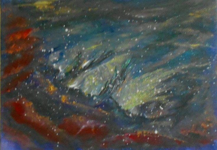 Nebula V  Original space art Oil Painting 7 x5