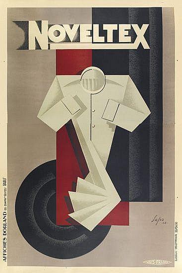 French ad poster for Noveltex shirts - 1928 - artist Sepo (Severo Pozzati).
