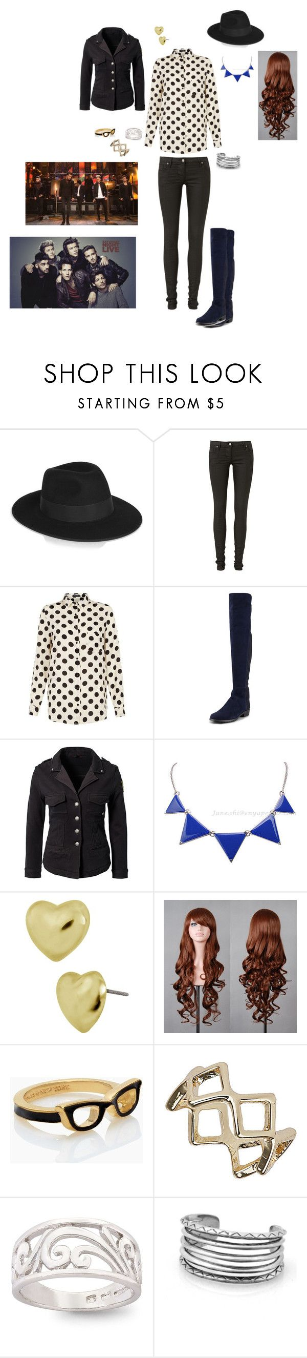 """SNL"" by smthin0-0diffrnt ❤ liked on Polyvore featuring beauty, Karl Lagerfeld, sass & bide, Stuart Weitzman, RA-RE, Betsey Johnson, Kate Spade, Topshop, Bridge Jewelry and House of Harlow 1960"
