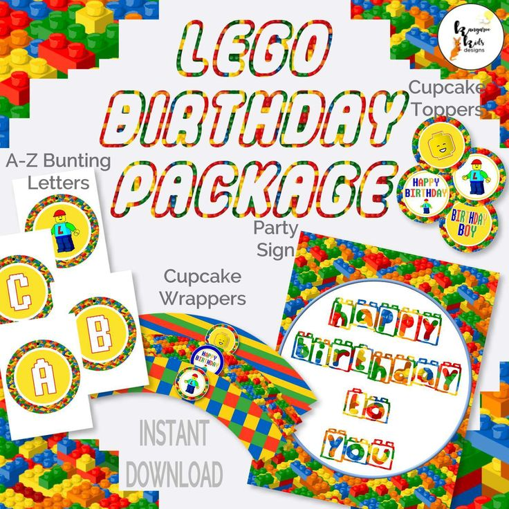 Lego Party Decor Instant Download, Lego Cupcake Wrappers, Lego Cupcake Toppers, Lego Party Sign, Happy Birthday Sign, Banner Building Brick