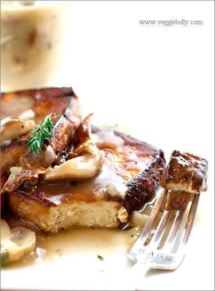 vegan-baked-tofu-with-mushroom-gravy- This is SOOO delicious. Next time I have to remember to make two blocks of tofu at once so I have leftovers!