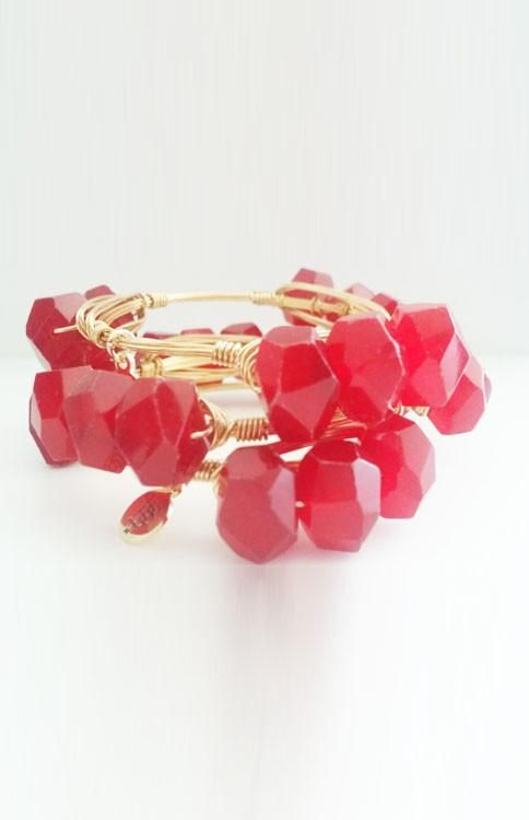 Bourbon and Boweties - Triple Stack Red Agate Stone Bangle
