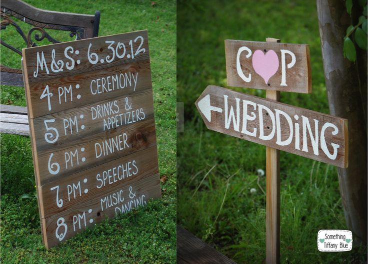 INSEGNE IN LEGNO PER UN MATRIMONIO ALL'APERTO IN STILE COUNTRY By www.SomethingTiffanyBlue.com