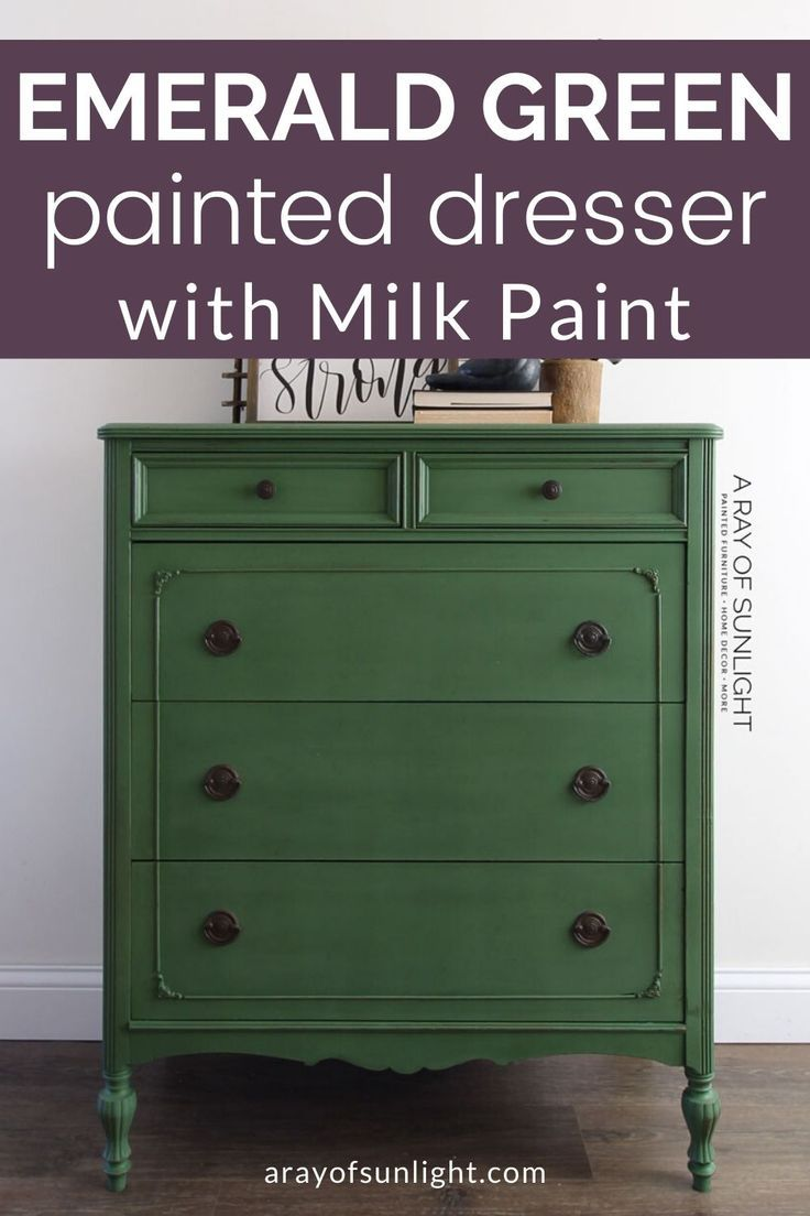 Emerald Green Painted Dresser How To Paint With Milk Paint Green Dresser Makeover Green Painted Furniture Painted Dresser [ 1104 x 736 Pixel ]