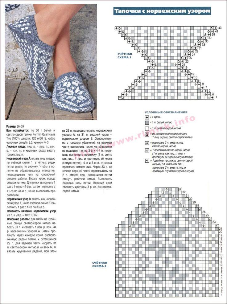 Вяжем носки-тапочки