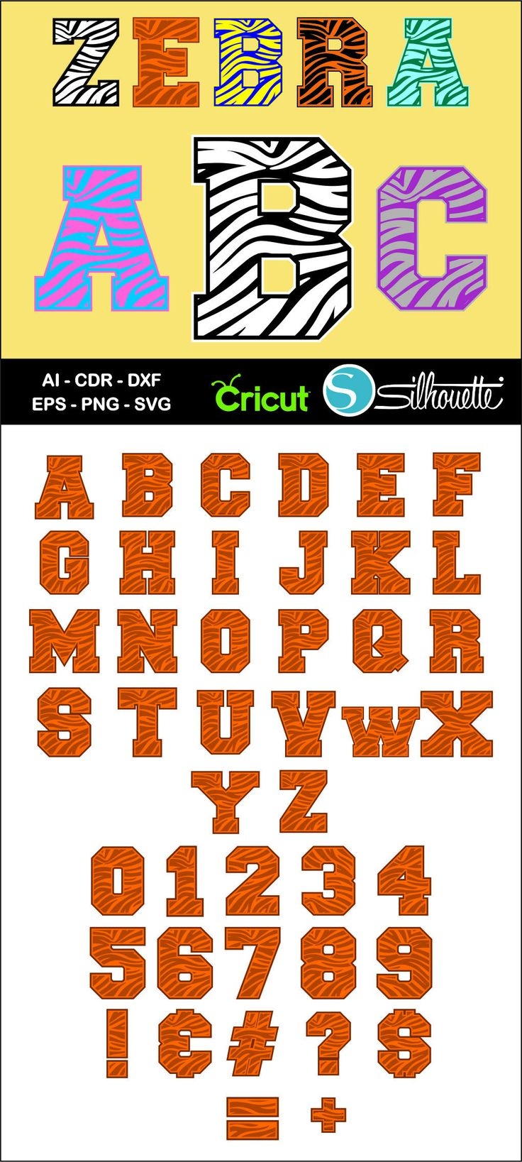 Buy 2 get 1 free, Zebra Alphabet font, Ai, CDR, Eps, SVG