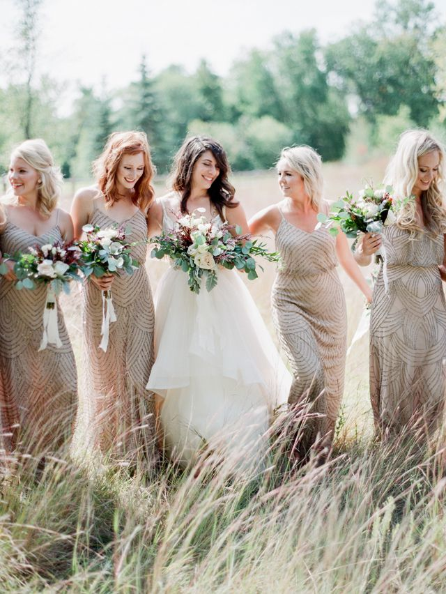 Nude adriana papell bridesmaid dresses, pic by brittany mahood