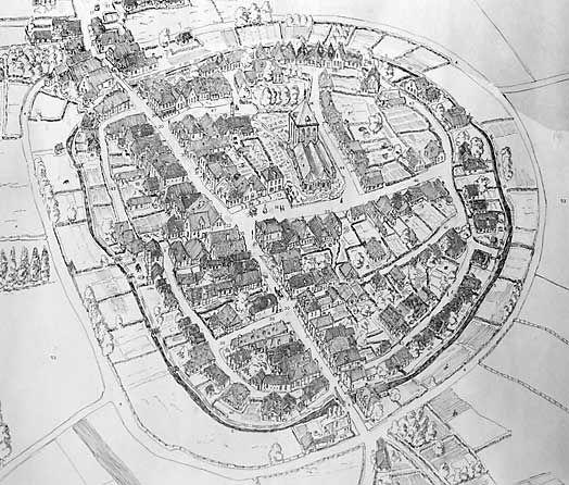 1583 Joachim Pruist verwoest en plundert Delden (tekening), Goor en Rijssen en bezet Enschede.  1584 Neuenahr en De Soete (Viliers) steken Delden in brand. Almelo, Goor, Diepenheim, Rijssen en Haaksbergen verwoest. Stropende troepen nemen Enschede in, maar Mario Martinengo verjaagt hen