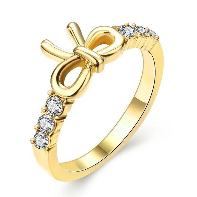 Золотой Цвет Кольцо Для Женщин Милые Бантом Палец Кольца Кристалл Высокое Качество Свадебные Femme Ювелирных Изделий Кольца Для Женщин