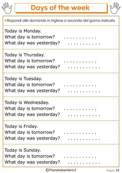 Tante schede didattiche da stampare in PDF per imparare i giorni della settimana...