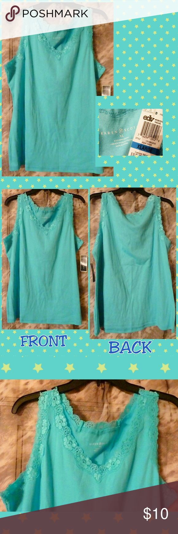 Selling this Aqua Oasis W/Lace Trim Knit Tank Top Sz XL on Poshmark! My username is: gothicbluecj. #shopmycloset #poshmark #fashion #shopping #style #forsale #Karen Scott #Tops