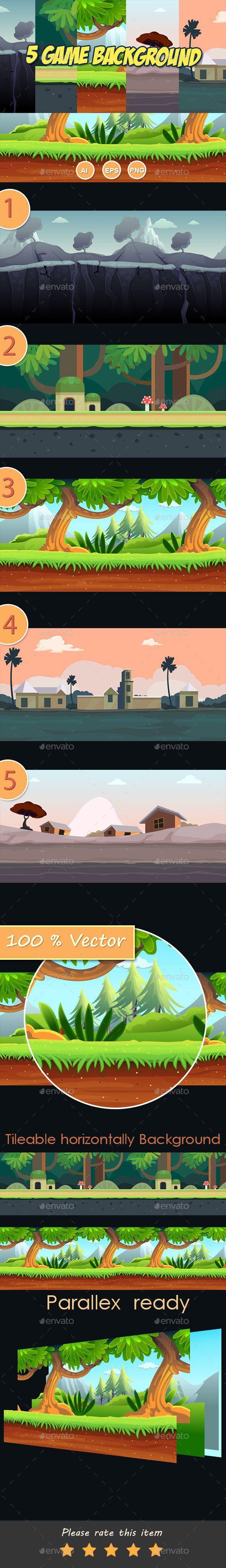 5 level Cartoon Game Background (Backgrounds)