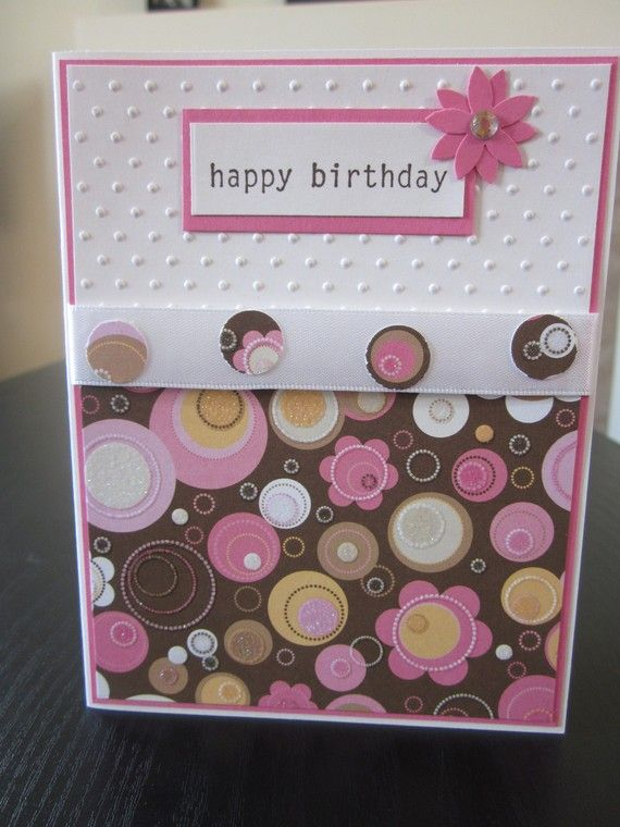 Happy Birthday Card with Flower Glitter Paper