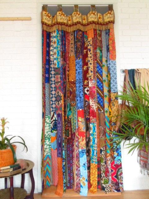 Boho Elephants Door Curtain Bohemian Decor Gypsy Doorway DIY Privacy Closet