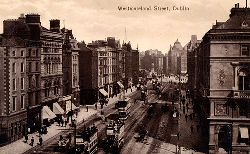Westmoreland Street. Westmoreland Street was named after John Fane, 10th Earl of Westmoreland, Lord Lieutenant 1790-1794. It was one of the last major schemes to be undertaken by the Wide Streets Commissioners. #dublin #dublin #historicalpostcards #postcard